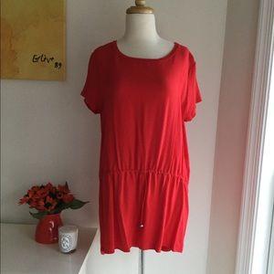 Zara red Viscose long Tunic Medium/Large